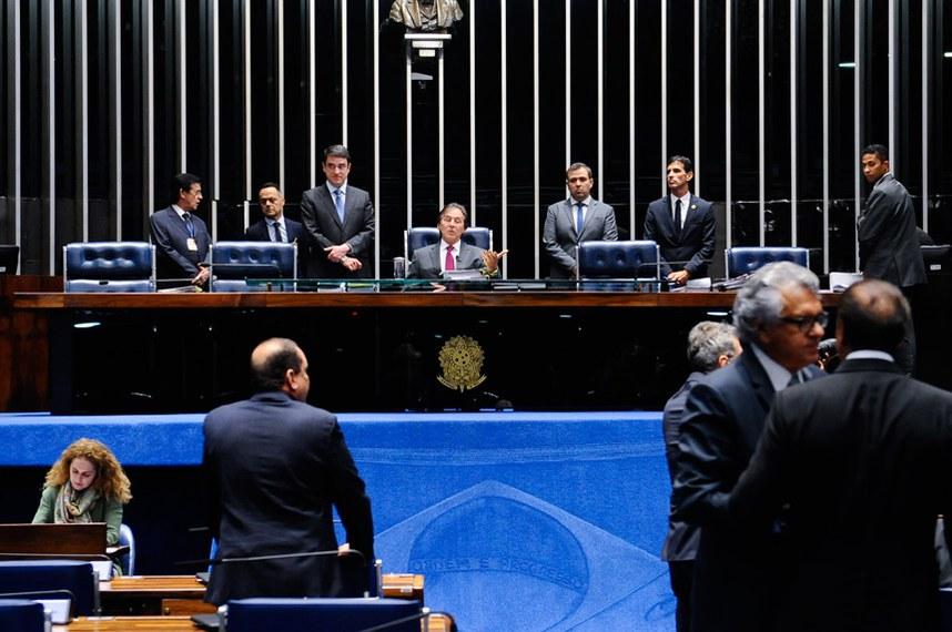 Plenário do Senado durante sessão deliberativa ordinária.  À mesa, presidente do Senado Federal, senador Eunício Oliveira (PMDB-CE).  Foto: Jonas Pereira/Agência Senado