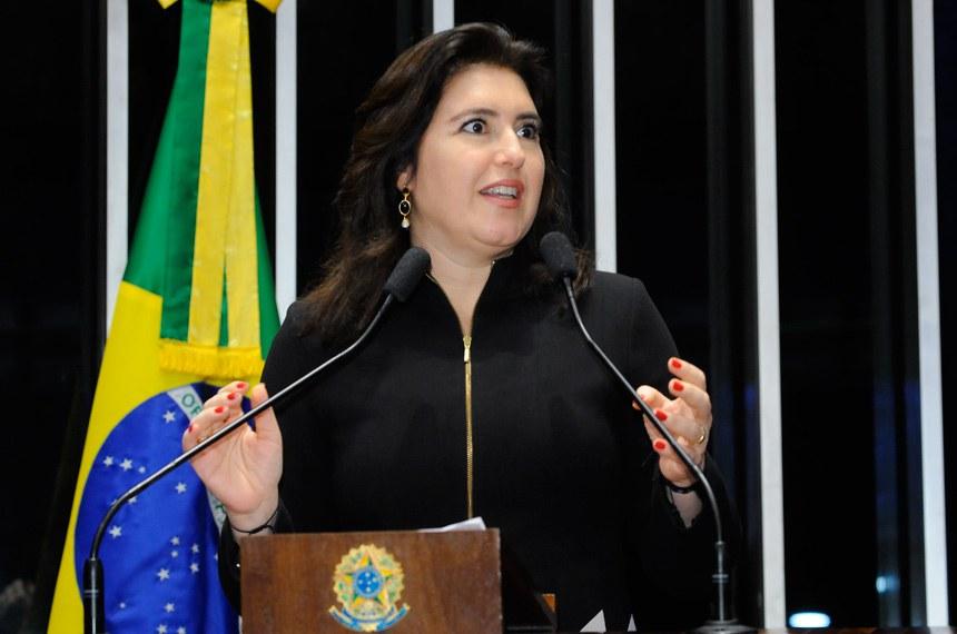 Plenário do Senado durante sessão deliberativa ordinária.  Em discurso, senadora Simone Tebet (PMDB-MS).  Foto: Waldemir Barreto/Agência Senado