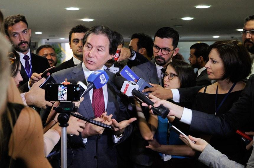 Presidente do Senado Federal, senador Eunício Oliveira (PMDB-CE) concede entrevista.  Foto: Edilson Rodrigues/Agência Senado