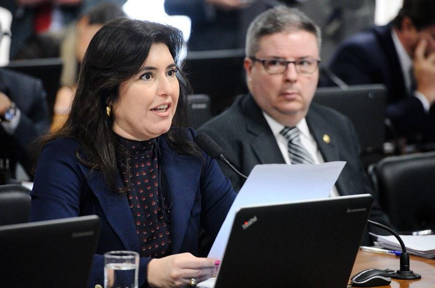 A senadora Simone Tebet deu parecer favorável a quatro projetos ligados à segurança, sob a sua relatoria