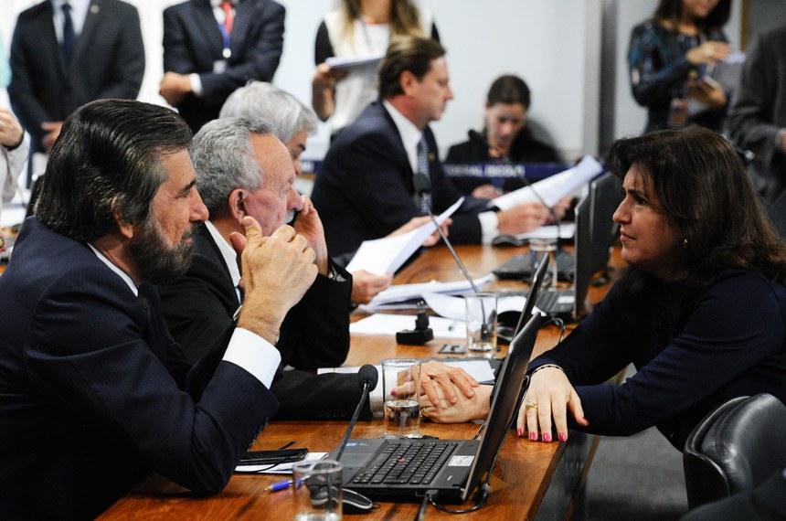 O relator, senador Valdir Raupp (em conversa com a senadora Simone Tebet) defendeu que o Brasil precisa buscar alternativas, visto que é elevado o custo do querosene da aviação