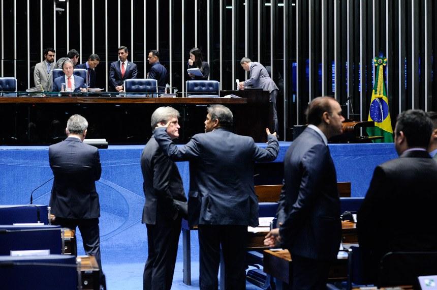 Plenário do Senado Federal durante sessão deliberativa extraordinária. Ordem do dia.   À mesa, presidente do Senado Federal, senador Eunício Oliveira (PMDB-CE), conduz sessão.  Foto: Marcos Oliveira/Agência Senado