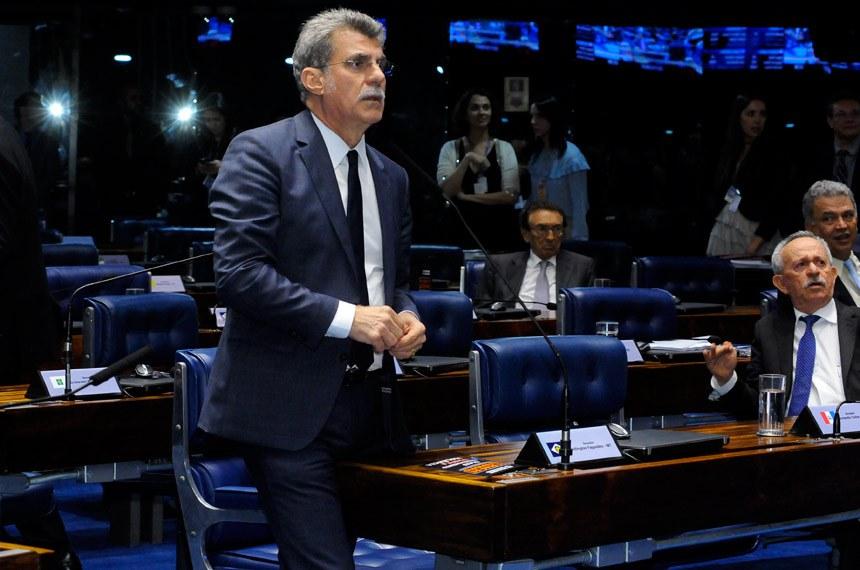 Plenário do Senado durante sessão deliberativa ordinária.  Em pronunciamento, senador Romero Jucá (PMDB-RR).   Foto: Waldemir Barreto/Agência Senado