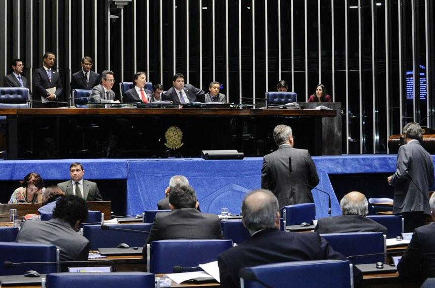 Plenário do Senado Federal durante sessão deliberativa extraordinária.  Mesa: senador Ciro Nogueira (PP-PI); presidente do Senado, senador Eunício Oliveira (PMDB-CE); senador Cidinho Santos (PR-MT).  Foto: Waldemir Barreto/Agência Senado