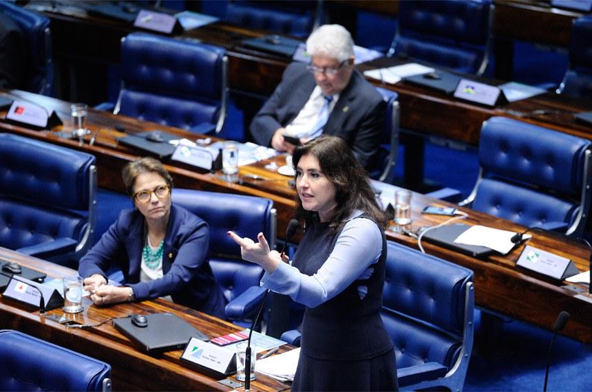 A senadora Simone Tebet foi relatora da proposta quando ela foi analisada pela CCJ