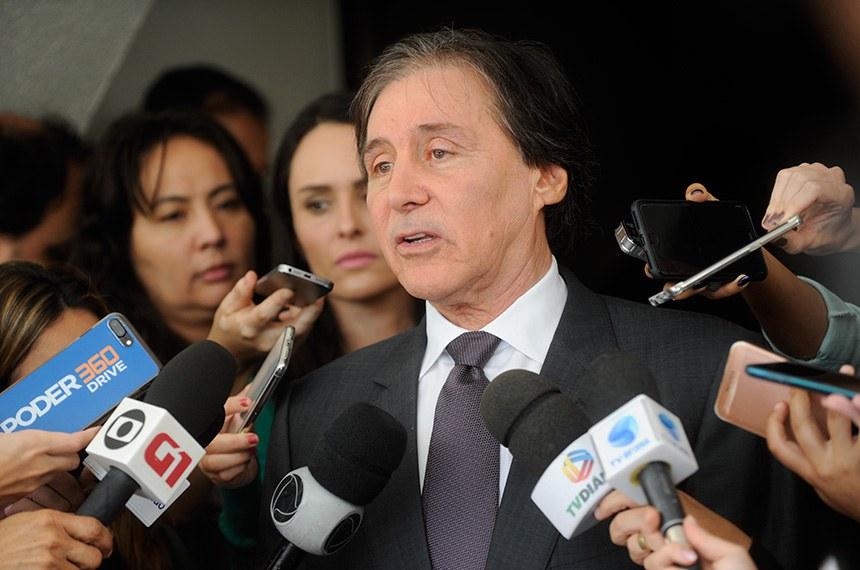 Presidente do Senado, senador Eunício Oliveira (PMDB-CE), concede entrevista.  Foto: Marcos Brandão/Senado Federal