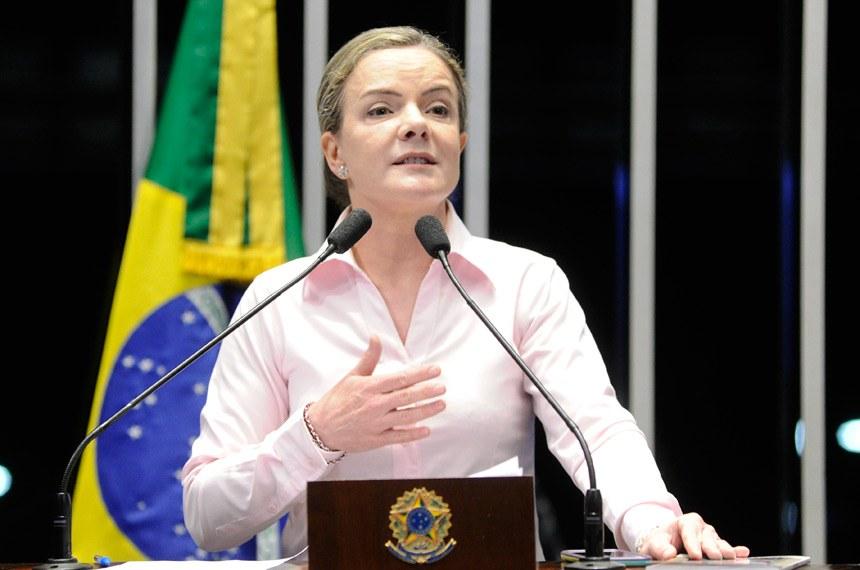 Plenário do Senado Federal durante sessão não deliberativa.   Em discurso, à tribuna, senadora Gleisi Hoffmann (PT-PR).  Foto: Pedro França/Agência Senado