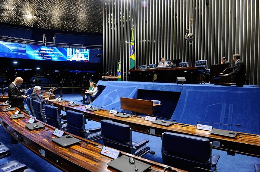 Plenário do Senado Federal durante sessão não deliberativa.   Em discurso, à tribuna, senador Hélio José (Pros-DF).  À mesa, senador Paulo Paim (PT-RS).  Foto: Pedro França/Agência Senado