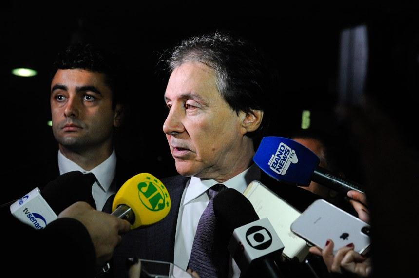Presidente do Senado Federal, senador Eunício Oliveira (PMDB-CE), concede entrevista.  Foto: Jane de Araújo/Agência Senado