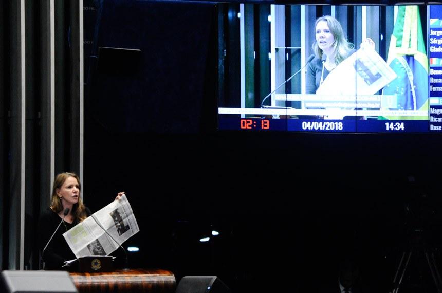 Plenário do Senado Federal durante sessão deliberativa ordinária.   Em discurso, à tribuna, senadora Vanessa Grazziotin (PCdoB-AM).  Foto: Waldemir Barreto/Agência Senado