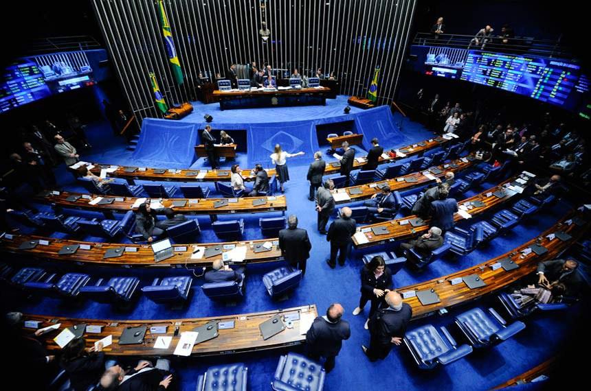 Plenário do Senado Federal durante sessão deliberativa ordinária. Ordem do dia.   À mesa, presidente do Senado, senador Eunício Oliveira (PMDB-CE) conduz sessão.  Foto: Marcos Oliveira/Agência Senado