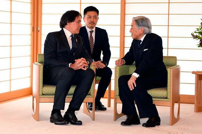 Em audiência no Palácio Imperial do Japão, em Tóquio, o presidente do Senado, Eunício Oliveira (MDB-CE), foi recebido pelo imperador Akihito