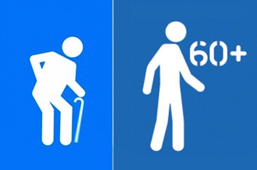 Símbolo atual (à esq.), que mostra idoso encurvado com bengala, é considerado pejorativo e há campanha para que seja substituído por outra imagem (à dir.)