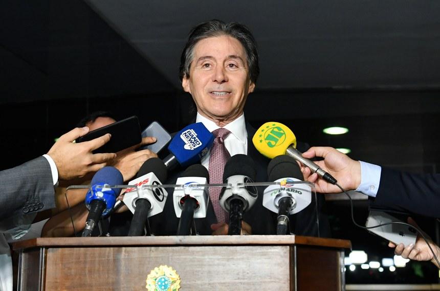 Presidente do Senado, senador Eunício Oliveira (PMDB-CE), concede entrevista.  Foto: Marcos Brandão/Agência Senado
