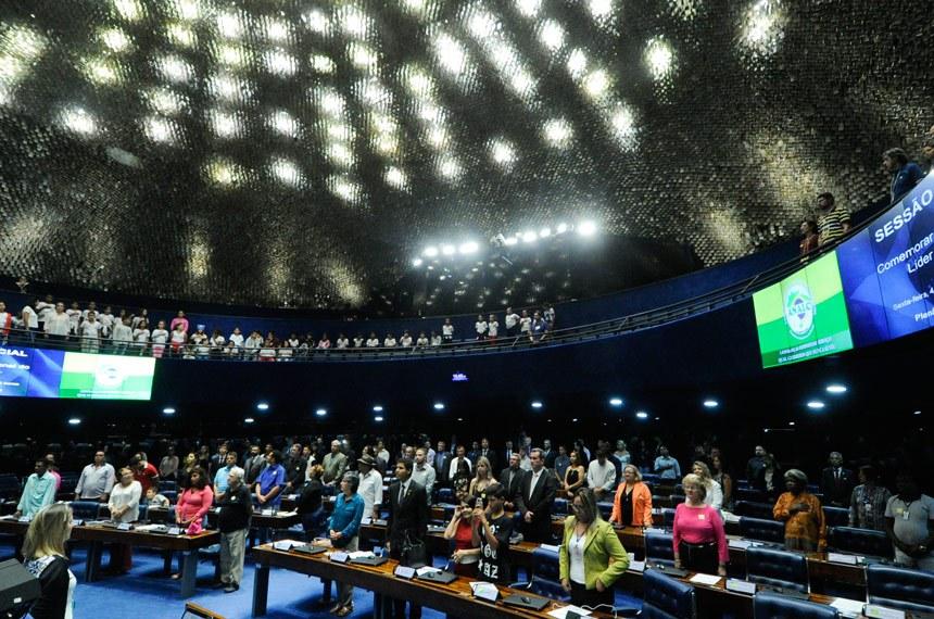 Plenário do Senado Federal durante sessão especial em homenagem ao Dia Nacional do Líder Comunitário.   Em posição de respeito, convidados e parlamentares acompanham execução do Hino Nacional.   Foto: Geraldo Magela/Agência Senado