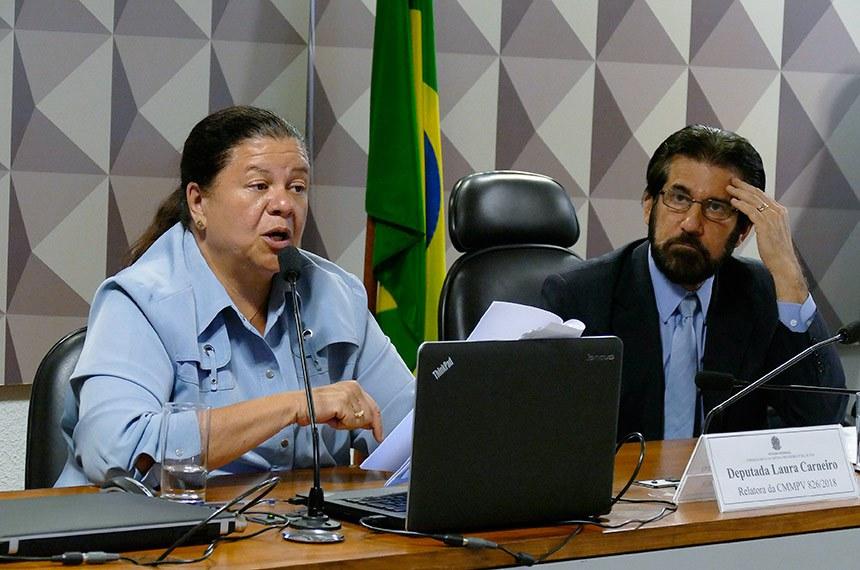Comissão Mista da Medida Provisória (CMMPV) nº 826, de 2018 (cria cargos e funções: Gabinete Intervenção no Rio de Janeiro), realiza reunião deliberativa para apreciação de relatório.   Mesa:  relatora da CMMPV 826/2018, deputada Laura Carneiro (DEM-RJ);  presidente da CMMPV 826/2018, senador Valdir Raupp (PMDB-RO).  Foto: Roque de Sá/Agência Senado