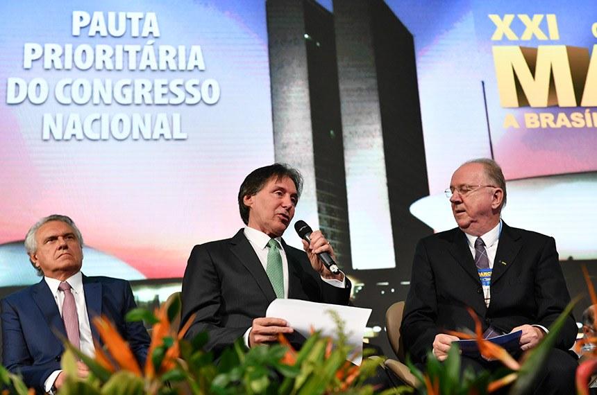 Presidente do Senado, Eunício Oliveira (MDB-CE), participou da 21ª Marcha a Brasília em Defesa dos Municípios.     Foto: Marcos Brandão/Senado Federal
