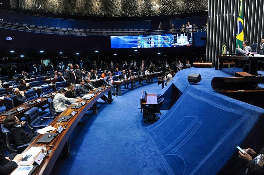 Plenário do Senado Federal durante sessão deliberativa ordinária.   À mesa, presidente do Senado Federal, senador Eunício Oliveira (MDB-CE), conduz sessão.  Foto: Jonas Pereira/Agência Senado
