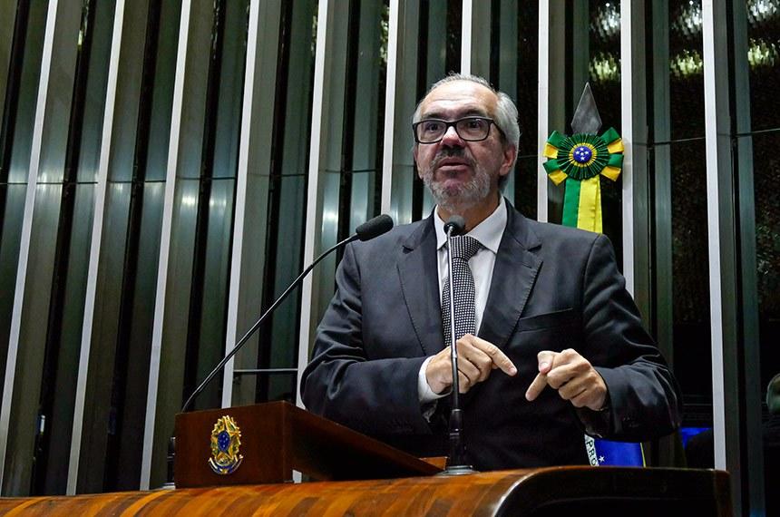 Plenário do Senado Federal durante sessão deliberativa ordinária.   Em discurso, à tribuna, senador Roberto Muniz (PP-BA).  Foto: Roque de Sá/Agência Senado