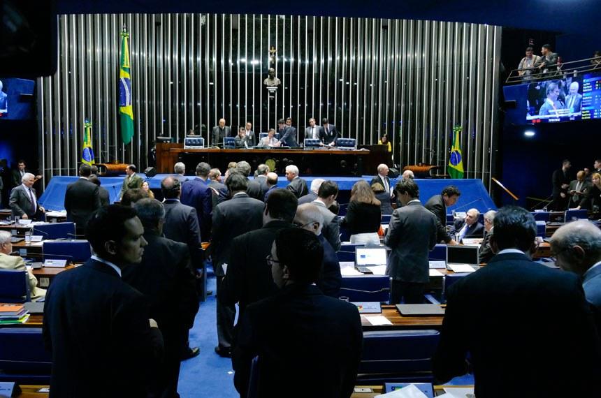 Plenário do Senado Federal durante sessão deliberativa ordinária. Ordem do dia.  Mesa: senador Eduardo Braga (MDB-AM); presidente do Senado, senador Eunício Oliveira (MDB-CE).   Foto: Roque de Sá/Agência Senado