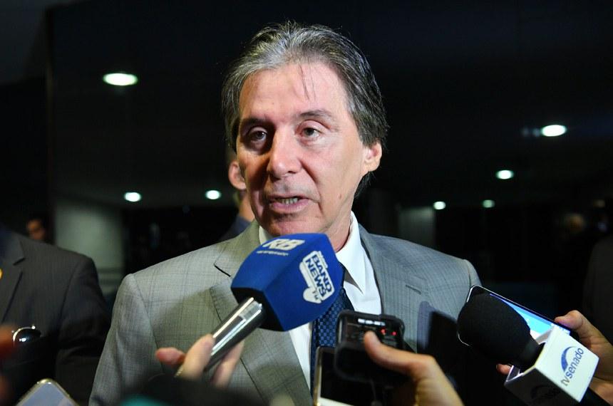 Presidente do Senado Federal, senador Eunício Oliveira (MDB-CE), concede entrevista.  Foto: Marcos Brandão/Senado Federal