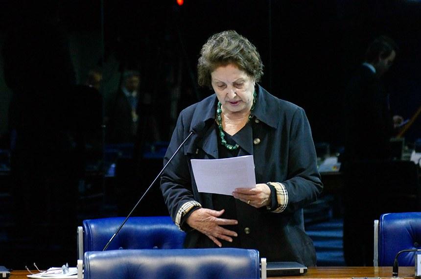 Plenário do Senado Federal durante sessão deliberativa ordinária.   Em pronunciamento, senadora Maria do Carmo (DEM-SE) à bancada.  Foto: Roque de Sá/Agência Senado