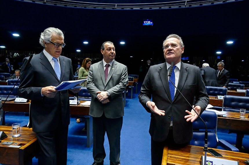 Plenário do Senado Federal durante sessão deliberativa ordinária. Ordem do dia.  Em pronunciamemto, senador Renan Calheiros (MDB-AL).  Foto: Roque de Sá/Agência Senado