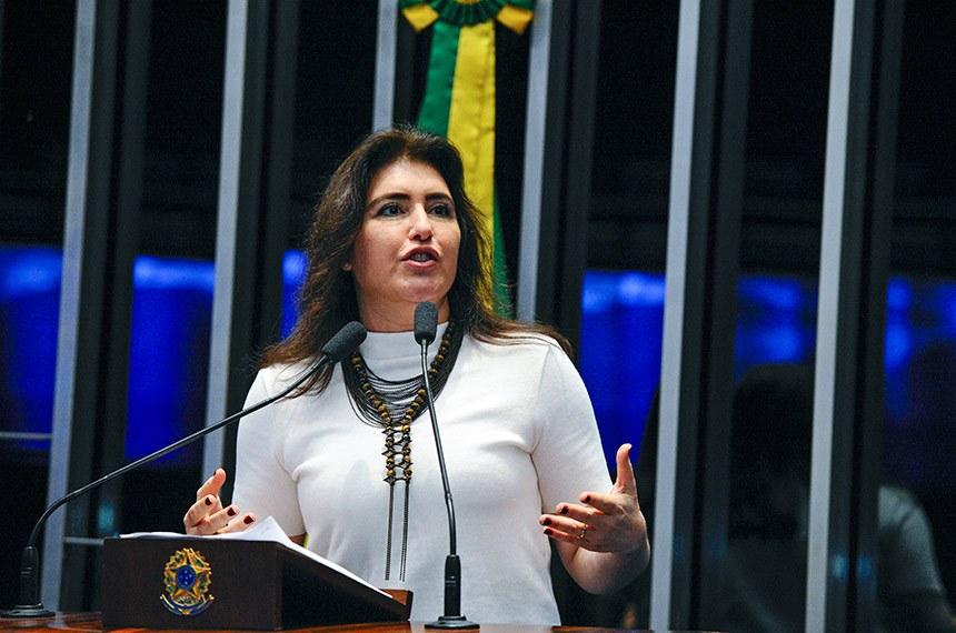 Plenário do Senado Federal durante sessão não deliberativa.   Em discurso, à tribuna, senadora Simone Tebet (MDB-MS).  Foto: Edilson Rodrigues/Agência Senado