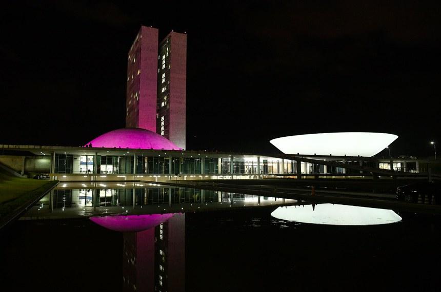 Congresso é iluminado de rosa para conscientizar sobre doença pulmonar  Foto: Jonas Pereira/Agência Senado