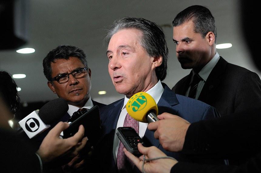 Presidente do Senado Federal, senador Eunício Oliveira (MDB-CE), concede entrevista.  Foto: Jane de Araújo/Agência Senado