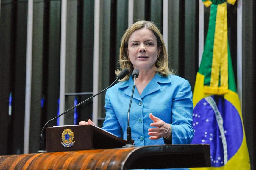 Plenário do Senado Federal durante sessão deliberativa ordinária.   Em discurso, à tribuna, senadora Gleisi Hoffmann (PT-PR).  Foto: Moreira Mariz/Agência Senado