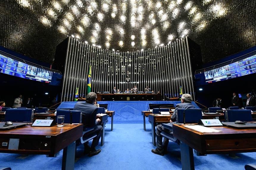 Plenário do Senado Federal durante sessão deliberativa ordinária. Ordem do dia.  À mesa, presidente do Senado Federal, senador Eunício Oliveira (MDB-CE), conduz sessão.  Foto: Marcos Oliveira/Agência Senado