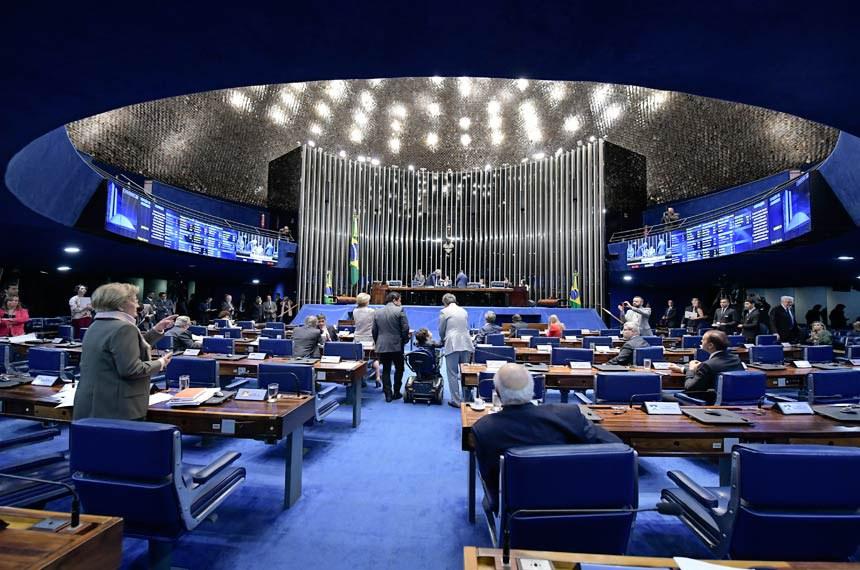 Plenário do Senado Federal durante sessão deliberativa ordinária. Ordem do dia.   Presidente do Senado Federal, senador Eunício Oliveira (MDB-CE) à mesa conduz sessão.  Foto: Waldemir Barreto/Agência Senado