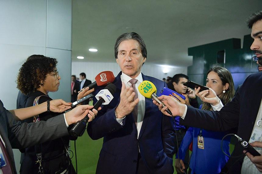 Presidente do Senado, senador Eunício Oliveira (MDB-CE) concede entrevista.  Foto: Marcos Brandão/Senado Federal