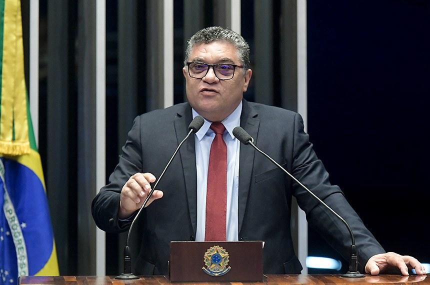 Plenário do Senado Federal durante sessão não deliberativa.   Em discurso, à tribuna, senador Rudson Leite (PV-RR).  Foto: Waldemir Barreto/Agência Senado