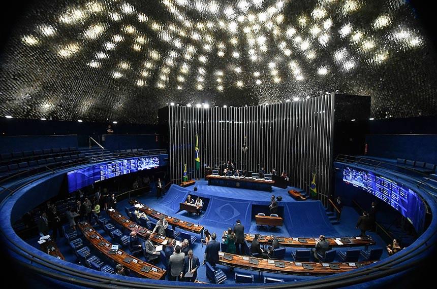 Plenário do Senado Federal durante sessão deliberativa ordinária. Geral do plenário.   À mesa, presidente do Senado Federal, senador Eunício Oliveira (MDB-CE), conduz sessão.  Foto: Marcos Oliveira/Agência Senado