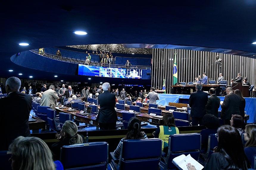 Plenário do Senado Federal durante sessão deliberativa extraordinária. Ordem do dia.   À mesa, presidente do Senado Federal, senador Eunício Oliveira (MDB-CE), conduz sessão.  Foto: Waldemir Barreto/Agência Senado