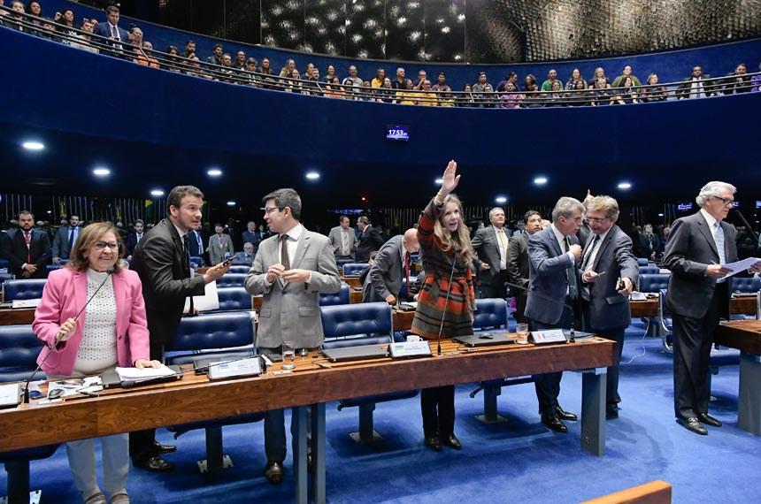 Plenário do Senado Federal durante sessão deliberativa extraordinária. Ordem do dia.  Participam: senador Fernando Bezerra Coelho (MDB-PE);  senador Lindbergh Farias (PT-RJ); senador Randolfe Rodrigues (Rede-AP); senadora Lídice da Mata (PSB-BA); senadora Marta Suplicy (MDB-SP); senadora Simone Tebet (MDB-MS); senadora Vanessa Grazziotin (PCdoB-AM); senador Romero Jucá (MDB-RR); senador Ronaldo Caiado (DEM-GO).  Foto: Waldemir Barreto/Agência Senado