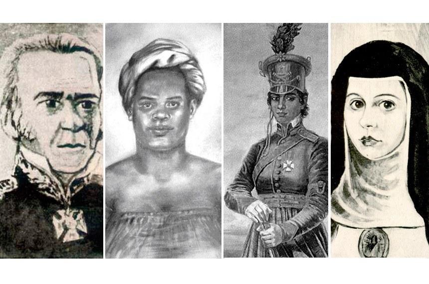 João das Botas, Maria Felipa, Maria Quitéria e Sóror Joana Angélica, que lutaram na Bahia pela Independência