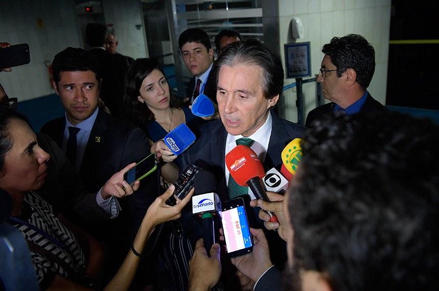 Presidente do Senado Federal, senador Eunício Oliveira (MDB-CE) concede entrevista.  Foto: Marcos Brandão/Agência Senado