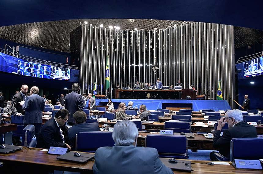 Plenário do Senado Federal durante sessão deliberativa ordinária. Ordem do dia.  À mesa, presidente do Senado, senador Eunício Oliveira (MDB-CE) conduz sessão.  Foto: Waldemir Barreto/Agência Senado