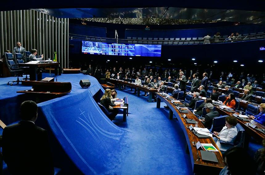 Plenário do Senado Federal durante sessão deliberativa ordinária. Ordem do dia.  À mesa, presidente do Senado, senador Eunício Oliveira (MDB-CE).  Foto: Roque de Sá/Agência Senado
