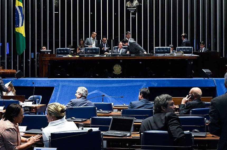 Plenário do Senado Federal durante sessão deliberativa extraordinária.   Mesa: presidente do Senado, senador Eunício Oliveira (MDB-CE);  senador Eduardo Braga (MDB-AM).  Foto: Edilson Rodrigues/Agência Senado