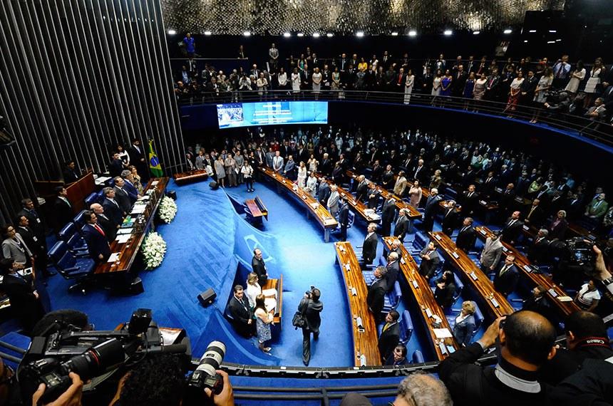 Solenidade de posse dos senadores durante primeira reunião preparatória para 55ª Legislatura.   Mesa (E/D):  senador Ciro Nogueira (PP-PI);  senador Flexa Ribeiro (PSDB-PA);  senador Romero Jucá (PMDB-RR);  senador Renan Calheiros (PMDB-AL);  senador Jorge Viana (PT-AC);  senadora Ângela Portela (PT-RR)   Foto: Pedro França/Agência Senado