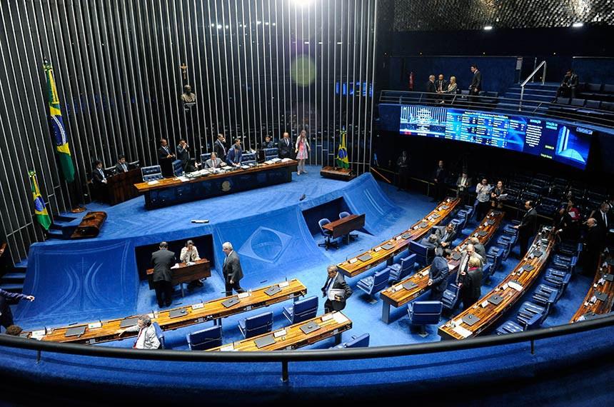 Plenário do Senado Federal durante sessão deliberativa ordinária.   Mesa: presidente do Senado Federal, senador Eunício Oliveira (MDB-CE); senadora Simone Tebet (MDB-MS).   Foto: Jonas Pereira/Agência Senado