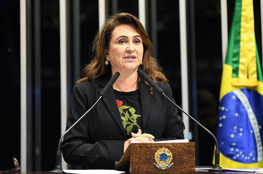 Plenário do Senado Federal durante sessão deliberativa ordinária.   Em discurso, à tribuna, senadora Kátia Abreu (PDT-GO).  Foto: Jefferson Rudy/Agência Senado