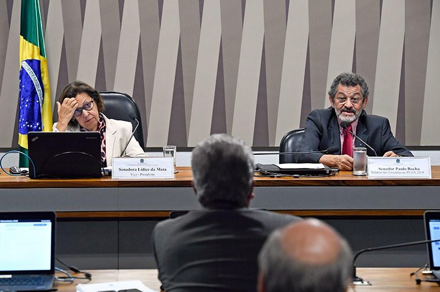 Comissão de Desenvolvimento Regional e Turismo (CDR) realiza reunião para apreciação das emendas ao PLOA 2019.  Mesa:  Vice-presidente da CDR, senadora Lídice da Mata (PSB-BA); senador Paulo Rocha (PT-PA).  Foto: Edilson Rodrigues/Agência Senado