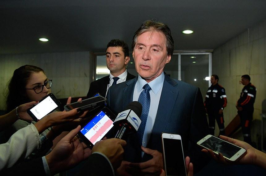 Preidente do Senado, senador Eunício Oliveira (MDB-CE), concede entrevista.  Foto: Marcos Brandão/Senado Federal