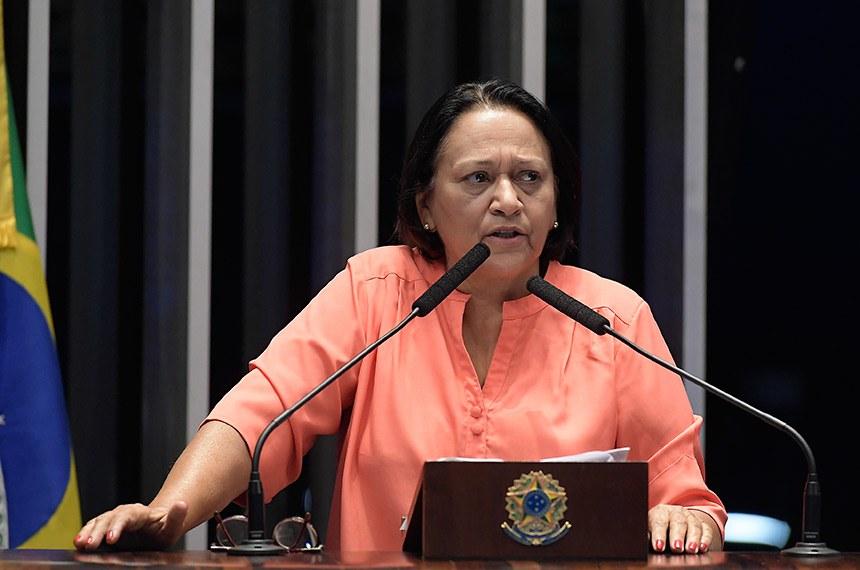 Plenário do Senado Federal durante sessão deliberativa ordinária.   Em discurso, à tribuna, senadora Fátima Bezerra (PT-RN).  Foto: Waldemir Barreto/Agência Senado
