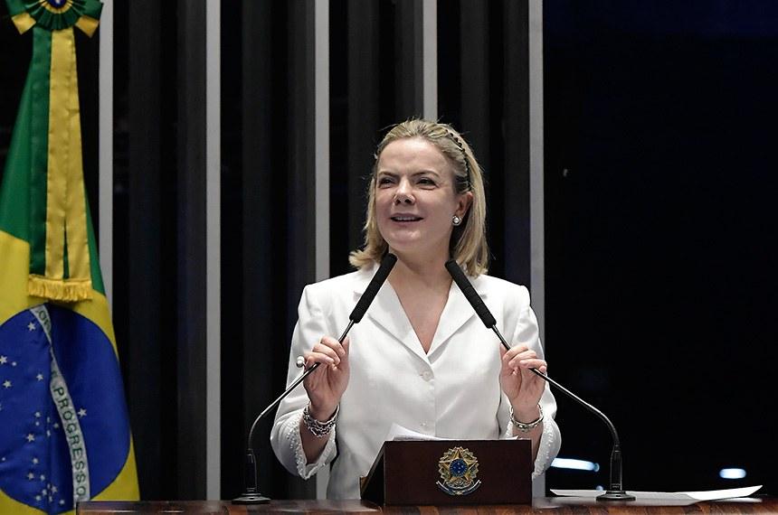 Plenário do Senado Federal durante sessão deliberativa ordinária.   Em discurso, senadora Gleisi Hoffmann (PT-PR).   Foto: Waldemir Barreto/Agência Senado